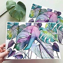 Obrazy - Fialová monstera, akvarel výtlačok (print) - 10239411_