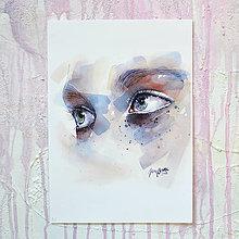 Obrazy - Štúdia očí, akvarel výtlačok (print) - 10239772_