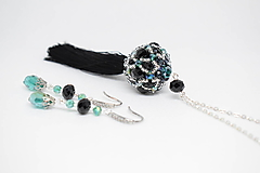 Sady šperkov - Dlhý náhrdelník so strapcom + náušnice, Smaragdová/Čierna - 10243855_