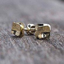 Náušnice - Gold cube - 10243883_