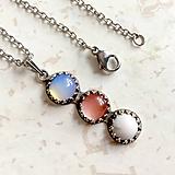- Vintage Trio Opalite, Cherry Quartz and Magnesite Necklace / Vintage náhrdelník opalit, cherry krištáľ a magnezit /1338 - 10243259_