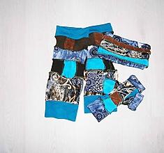 Čiapky - navleky ,rukavice a čelenka -hnedo tyrkys - 10243817_