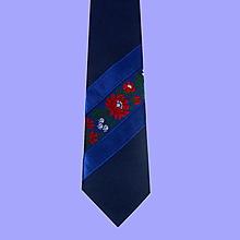 Doplnky - pánska originálna modrá folk kravata  (2.) - 10243201_