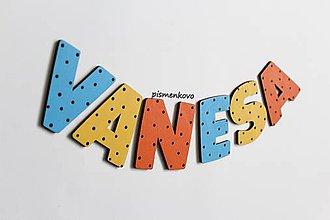 Tabuľky - VANESA ... meno z drevených písmeniek - 10242072_