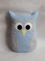 Úžitkový textil - Vankúš sova veľká (Modrá) - 10242088_