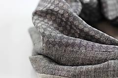 Doplnky - Pánsky elegantný čiernošedý ľanový nákrčník - 10242213_
