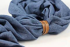 Doplnky - Pánska elegantná modrá šatka zo 100% ľanu - 10242987_