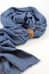 Doplnky - Pánska elegantná modrá šatka zo 100% ľanu - 10243004_