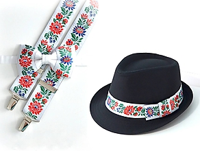 Doplnky - Set - pánsky klobúk, folklórny motýlik a traky - biely - 10242652_