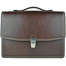 Tašky - Elegantná kožená aktovka z pravej kože v tmavo hnedej farbe - 10243366_