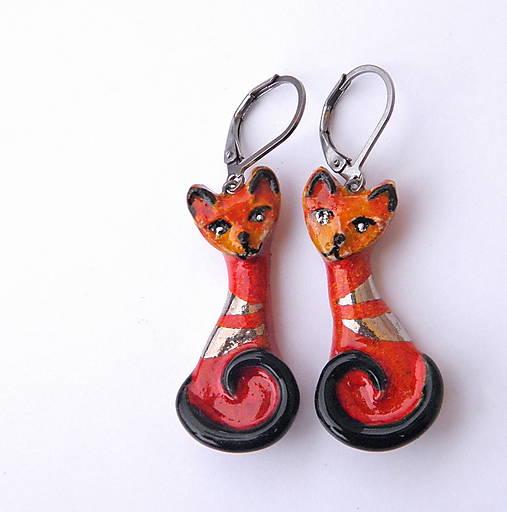 keramické náušnice - mačičky