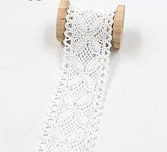 Galantéria - C111 Čipka bavlnená 4 cm / cena za 1 m (Biela) - 10243642_