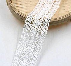 Galantéria - C112 Čipka bavlnená biela 3,5 cm / cena za meter - 10243658_
