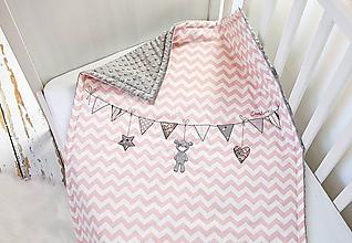 Textil - Deka pre dievčatko ružový chevron - 10242232_