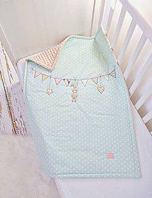 Textil - Deka pre dievčatko mentolová bodkovaná - 10242262_