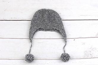 Detské čiapky - Tmavošedá ušianka zimná EXCLUSIVE FINE - 10242549_