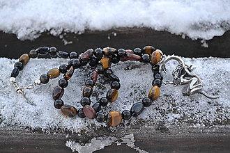 Šperky - Jazdkyňa na drakovi z Ag 925 , tigrie oko náhrdelník - 10243183_