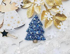 Odznaky/Brošne - Vianočný stromček (Modrá) - 10242029_
