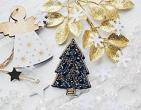 Odznaky/Brošne - Vianočný stromček (Modrá) - 10242035_