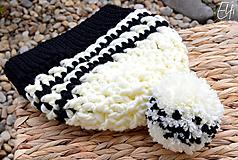 Čiapky - Háčkovaná čiapka ❄ maslovo-čierna - 10243475_