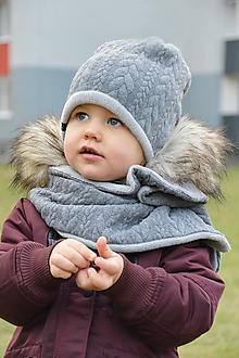 Detské súpravy - Zimný set Vrkoče & sivá tmavá - 10244450_