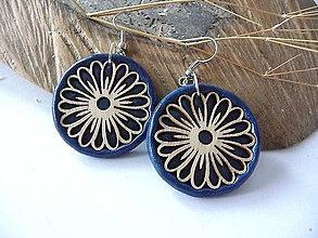 Náušnice - modré náušnice-kvitnúce - 10243856_