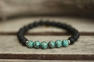 Šperky - Pánsky náramok z minerálu jaspis a láva - 10242215_