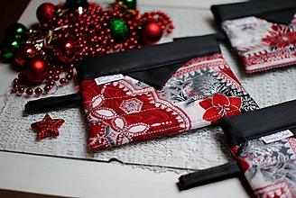 Taštičky - Vianočné červené taštičky - 10244303_