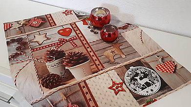 Úžitkový textil - Vianočný obrus (šišky,sobík) - 10246713_