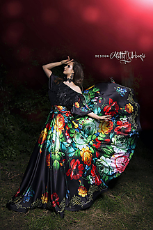 Sukne - sukňa FOLK black flower - 10245254_