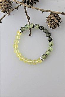 Náramky - prehnit a citrín náramok (náramok na ochranu a dodanie energie) - 10245342_