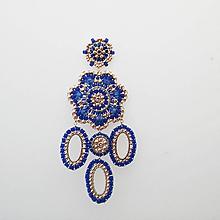 Náušnice - Zafír-gold - 10245702_