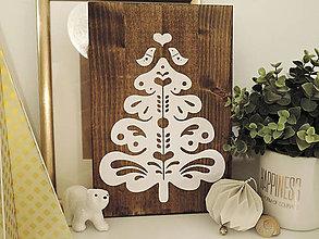 Obrázky - Vianočný stromček folk II. - papier na dreve - 10246784_