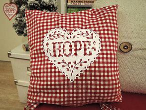 Úžitkový textil - Obliečka červené káro - folk srdce - 10246795_