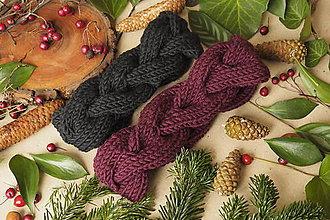 Čiapky - zapletená MERINO čelenka (voľnejšie pletená čierna) - 10246861_