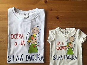 Oblečenie - Maľované tričká s farebnými postavičkami pre ocka a dcéru - 10244513_