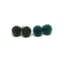 Náušnice - #bobuledousi duo smaragdovozelene napichovacie náušnice - 10245805_