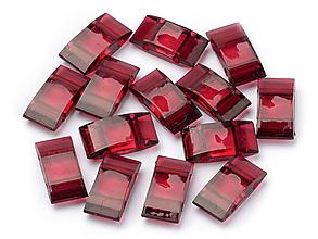 Korálky - Carrier dvojdierkové ploché korálky - Dark Red 17x9,5 mm, bal.10ks - 10245403_
