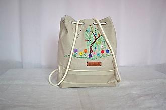 Batohy - Ľanový batôžtek s ručnou výšivkou 5,PREDANÉ - 10245918_