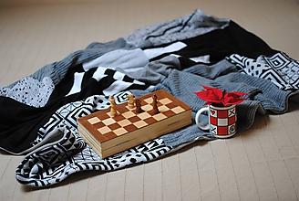 Úžitkový textil - Čiernobielošedá deka - 10245433_