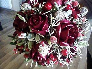 Dekorácie - Gratulačná kytica v zimnom prevedení - 10249293_