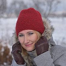 Čiapky - Zľava zo 16 na 12 eur-Červená čiapka z baby alpaky - 10248252_