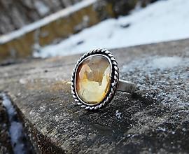 Prstene - Strieborný Prsteň s Citrínom - 10248062_