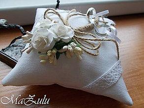 """Prstene - svadobný vankúšik """"vintage"""" VII. - 10248803_"""