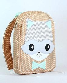 Detské tašky - RUKSAK mýval, hnedo - sivý, od 1.5r. - 10248584_