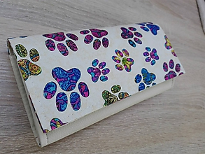 Peňaženky - Peňaženka na 12 kariet,koženka, bavlna - 10247360_