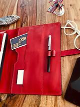 Na tablet - Kožený obal na tablet, diár, vizitky a pera - 10249309_