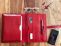 Na tablet - Kožený obal na tablet, diár, vizitky a pera - 10249312_