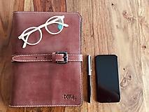 Na tablet - Kožený obal na tablet, diár alebo vizitky a perá - 10249323_