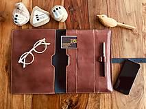 Na tablet - Kožený obal na tablet, diár alebo vizitky a perá - 10249325_